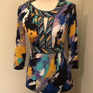 BCBGMaxazria Multi Color Keyhole Blouse